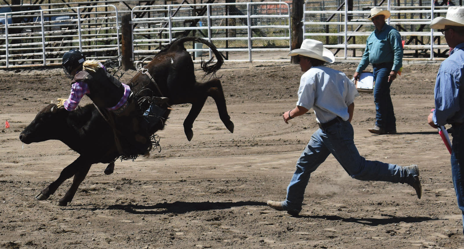Helpers race toward a bucking steer just as it's throwing off a rider.